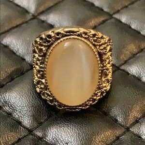 Free People Gypsy Boho Gold Moonstone Crystal Ring